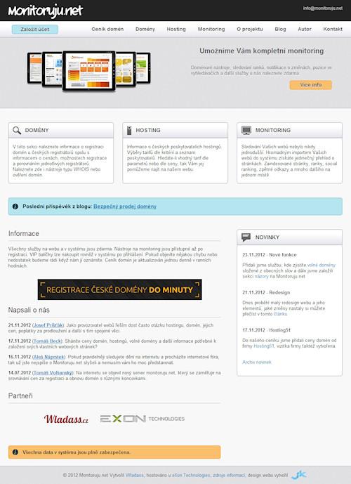 Hlavní stránka webu www.monitoruju.net